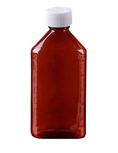 Oval Pharmacy Bottle for Liquid Medicine - Amber Medicine Bottle - Child Resistant Cap - 8 oz - Pack of 50 - Prescription Pharmacy Bottle Pharmacy Container Prescription Plastic Container by Sponix
