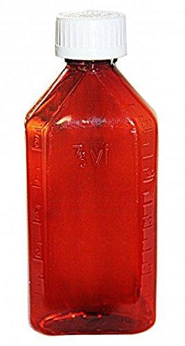 Oval Plastic Bottles - 8oz Amber CR caps - 12 pcs