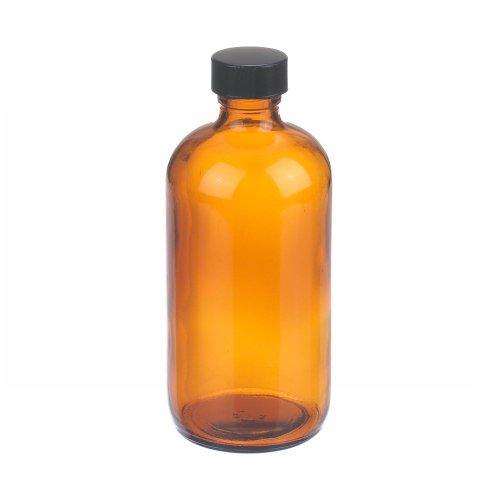 Wheaton W216856 Boston Round Bottle Amber Glass Capacity 8oz With 24-400 Black Phenolic Rubber Lined Screw Cap Diameter 60mm x 136mm Case Of 12