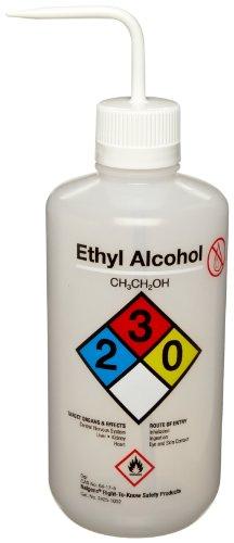 Nalgene 2425-1002 LDPE Right-To-Know Ethyl Alcohol Safety Wash Bottle 1000mL Capacity 38-430mm Polypropylene Closure Pack of 4