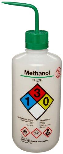 Nalgene 2425-1003 LDPE Right-To-Know Methanol Safety Wash Bottle 1000mL Capacity 8-430mm Polypropylene Closure Pack of 4