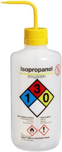 Nalgene 2425-1004 LDPE Right-To-Know Isopropanol Safety Wash Bottle 1000mL Capacity 38-430mm Polypropylene Closure Pack of 4