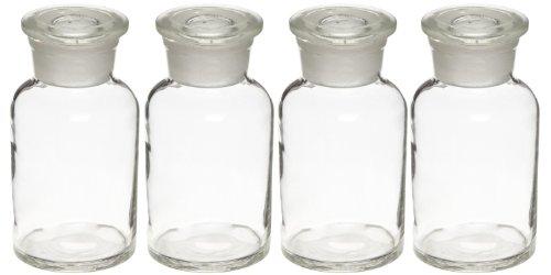 Set of 4 1000mL 32oz Glass Reagent Bottles - Wide Mouth Jars