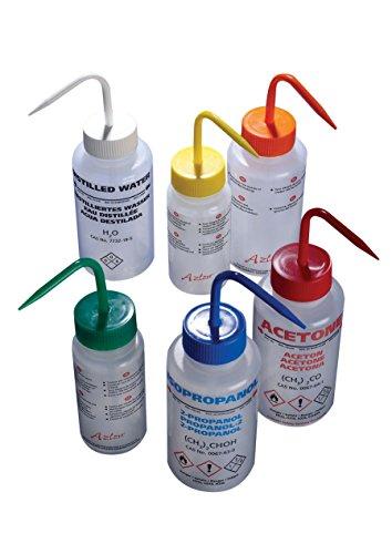 AZLON WGW603PML Plastic Wash Bottle Wide Mouth Deionised Water LDPE 500 ml Pack of 5
