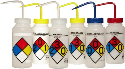 Bel-Art F11716-0050 Safety-Labeled Assorted 4-Color Wide-Mouth Wash Bottles 500ml 16oz Polyethylene wPolypropylene Cap Pack of 6