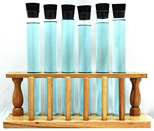 Wooden Test Tube Rack w 6 LG Test TubesStoppers