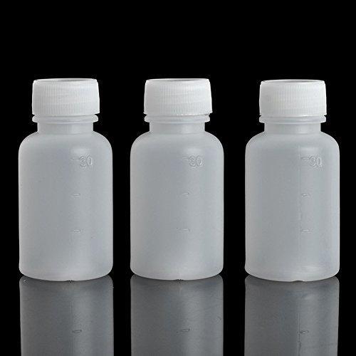 Bezall 50Pcs 30ml 1oz PE Plastic Empty Small Mouth Graduated Lab Chemical Container Reagent Bottle Sample Sealing Liquid Medicine Bottle