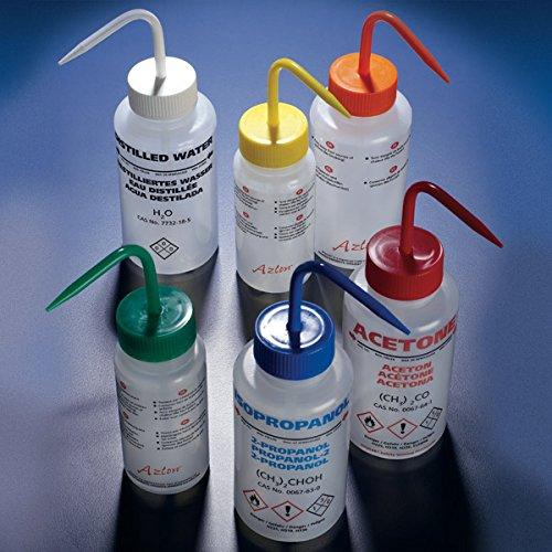Globe Scientific Wash bottle Acetone 250mL LDPEmulti-lingualventedred - GLO