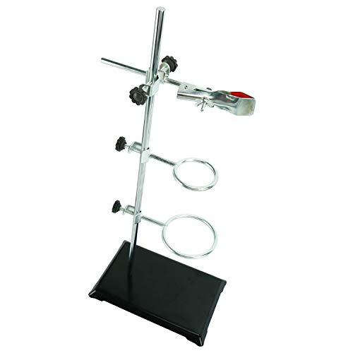 YaeTek Laboratory Metalware Set Support Stand 21x135cm Rod 50cm Height Retort Ring 6cm and 8cm in Dia