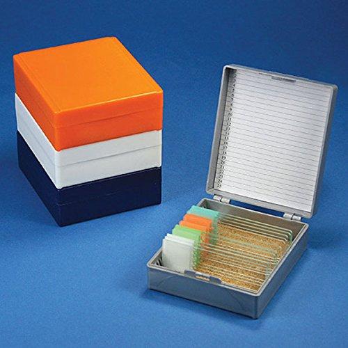 GLOBE SCIENTIFIC 513075N Slide Box for 25 Slides CorkLined Orange