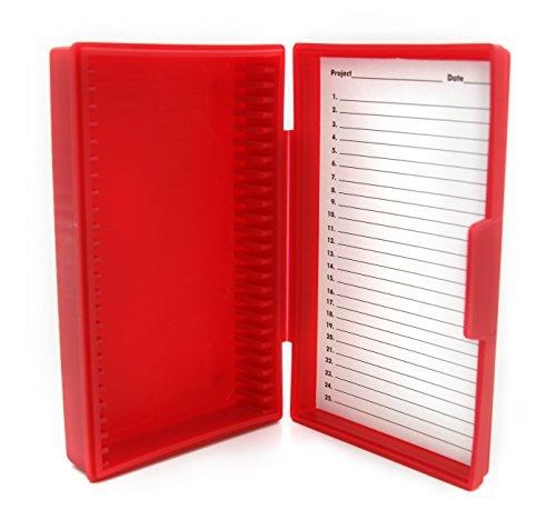 Heathrow Scientific HD15990B Red Polypropylene 25 Place Economy Microscope Slide Box 141mm Length x 92mm Width x 36mm Height