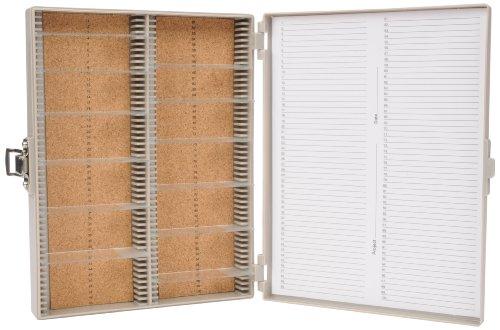 Heathrow Scientific HD15994F Gray Cork Lined 100 Place Microscope Slide Box 825 Length x 7 Width x 13 Height