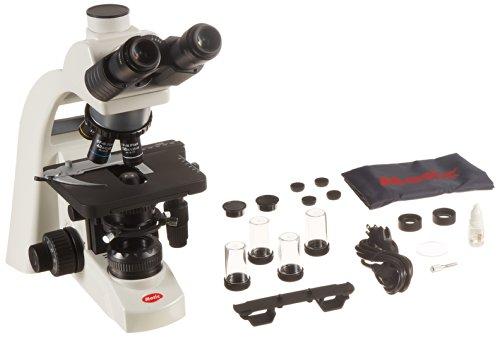 Motic 1100100401331 Series BA310 Trinocular Compound Microscope N-WF10x Eyepieces Plan Objectives 40x-1000x Magnification Brightfield Kohler Halogen Illumination Abbe Condenser with Iris Diaphragm Mechanical Stage 100V-240V 110V Plug